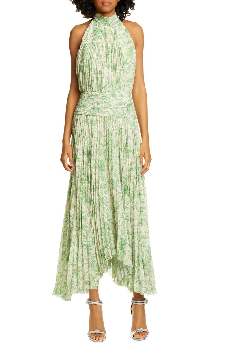AMUR Bibi Pleated Floral Halter Maxi Dress, Main, color, 395