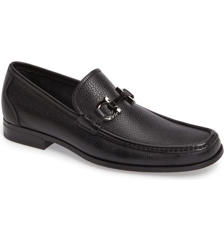 SALVATORE FERRAGAMO Grandioso Bit Loafer, Main, color, BLACK LEATHER
