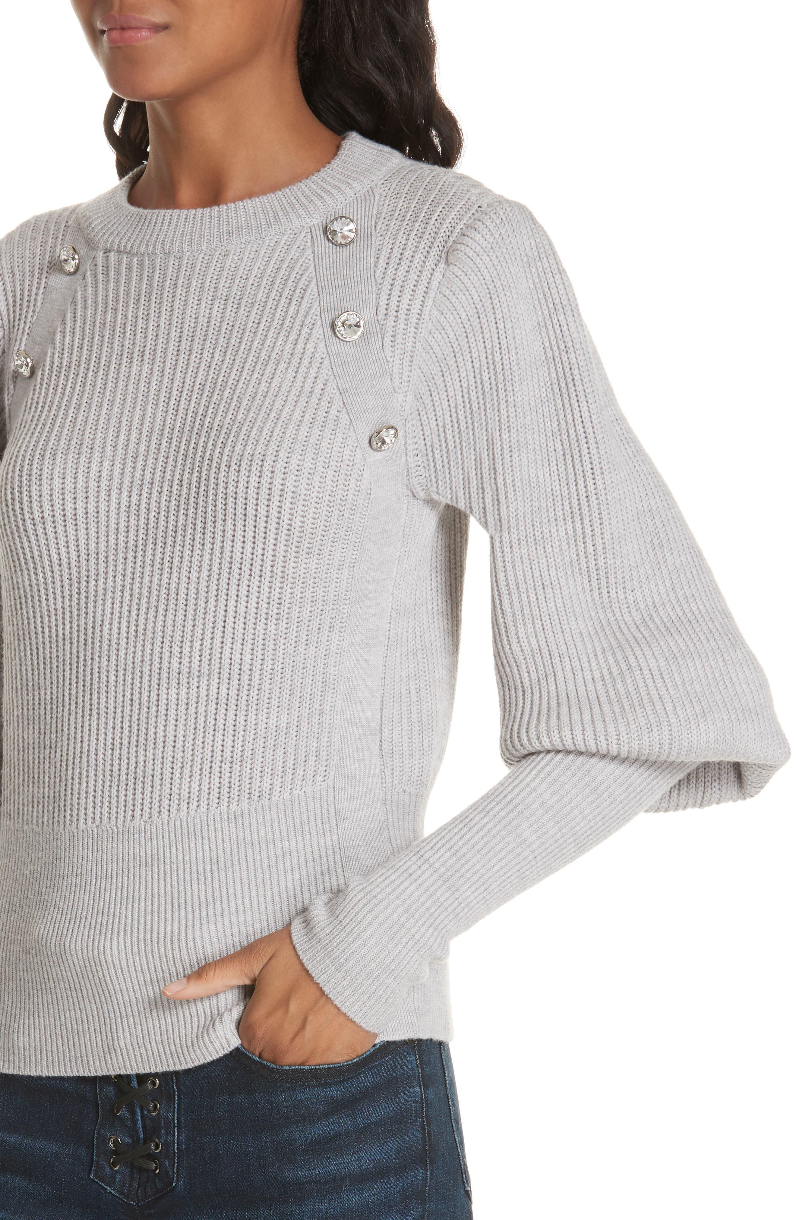 ,                             Jude Crystal Button Merino Wool Sweater,                             Alternate thumbnail 4, color,                             LIGHT GREY