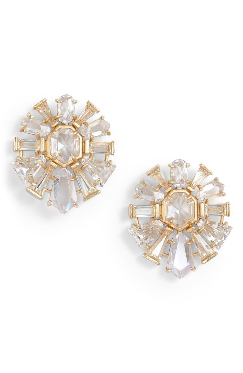 KENDRA SCOTT Jentry Stud Earrings, Main, color, GOLD LUSTRE/ GLASS CZ