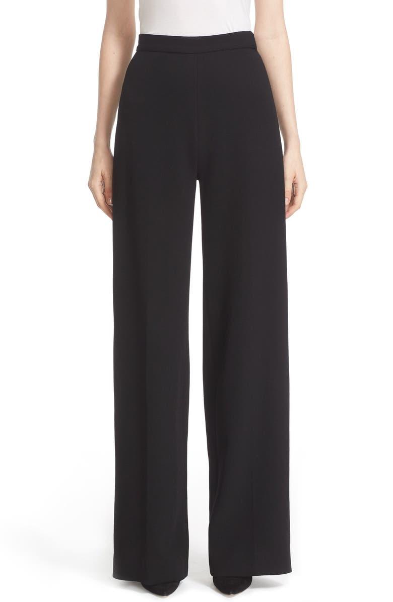 LELA ROSE Stretch Wool High Waist Pants, Main, color, BLACK