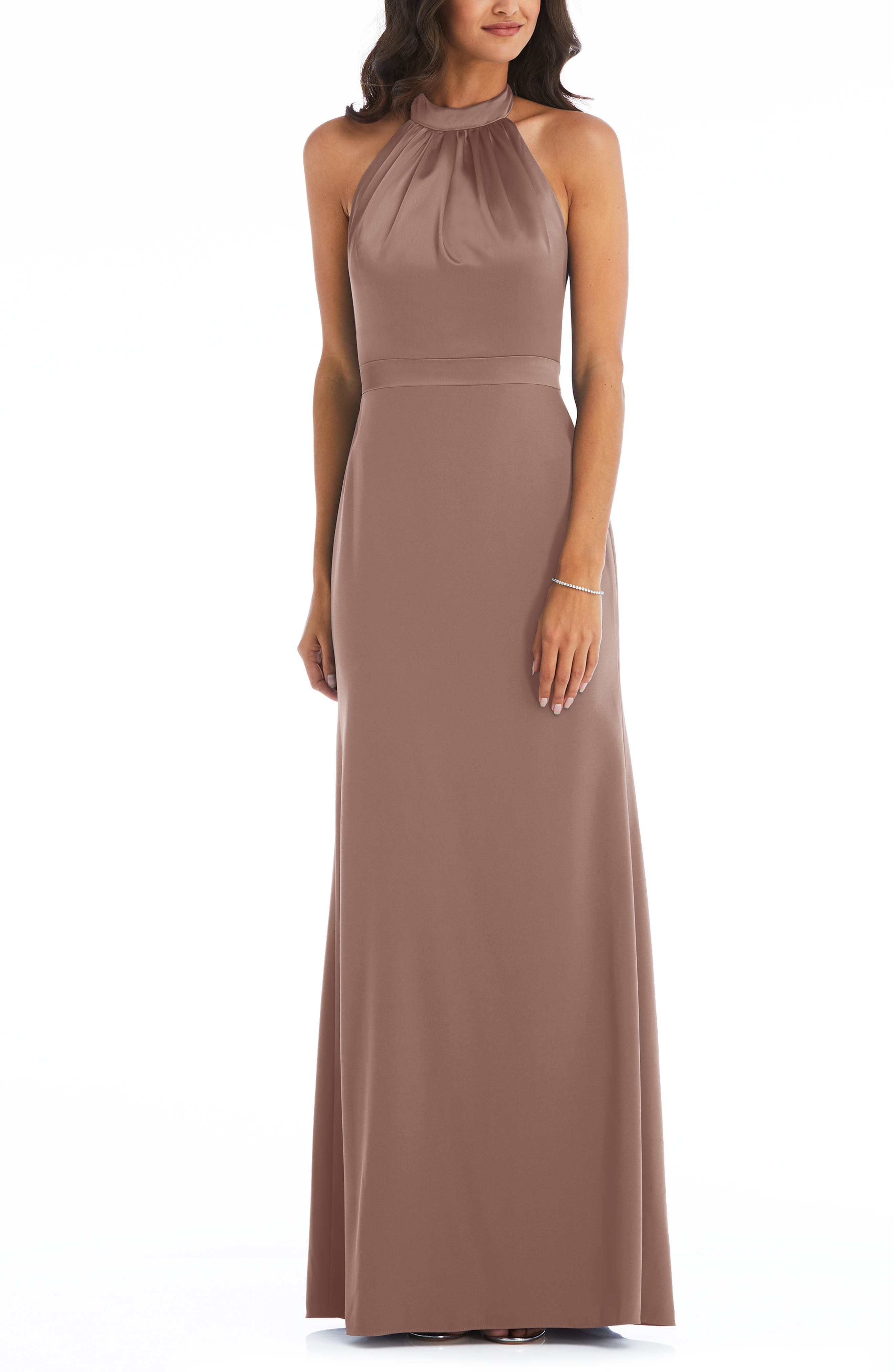 Halter Neck Charmeuse & Crepe Gown