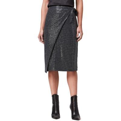 Allsaints Allegra Shimmer Wrap Front Skirt, Black