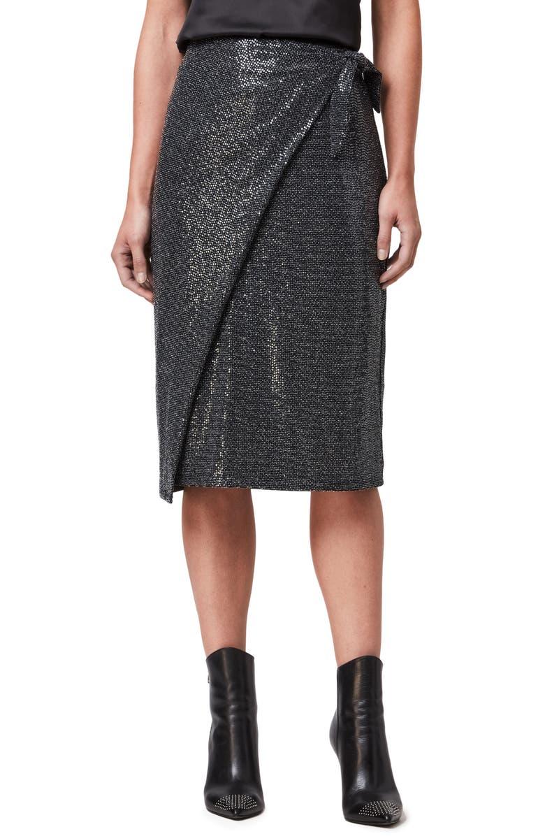ALLSAINTS Allegra Shimmer Wrap Front Skirt, Main, color, BLACK