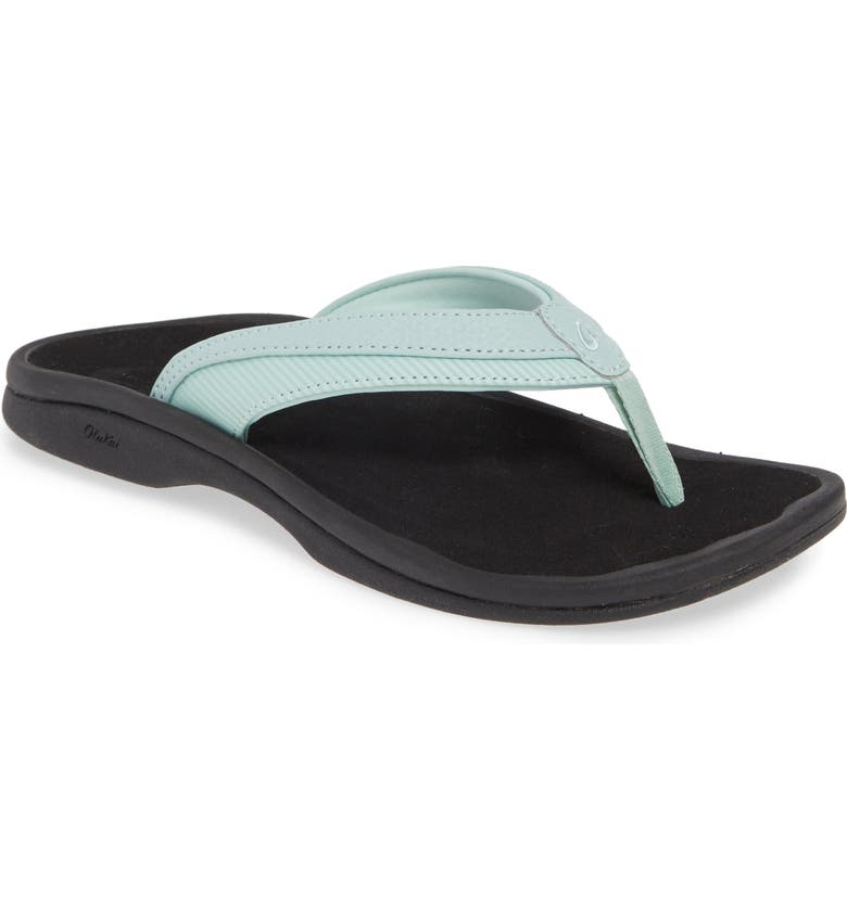 OLUKAI Wehi 'Ohana Flip Flop, Main, color, SWELL/ STRIPE FABRIC