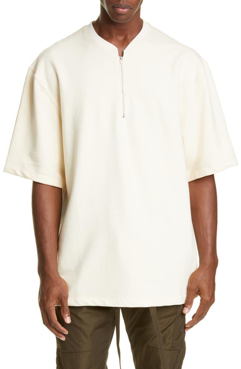 FEAR OF GOD Half Zip T-Shirt, Main, color, CREAM