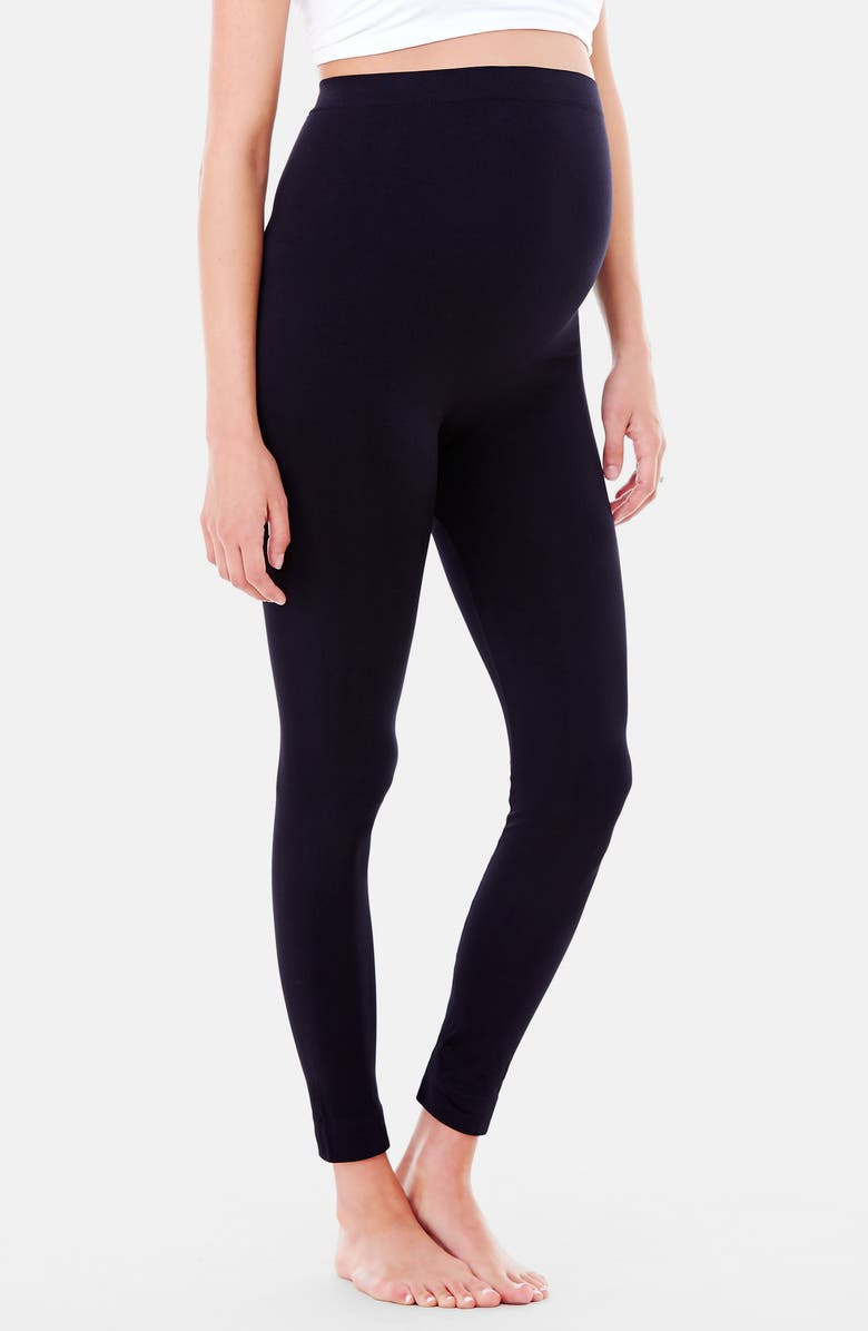 INGRID & ISABEL<SUP>®</SUP> 'Everyday' Seamless Maternity Leggings, Main, color, BLACK