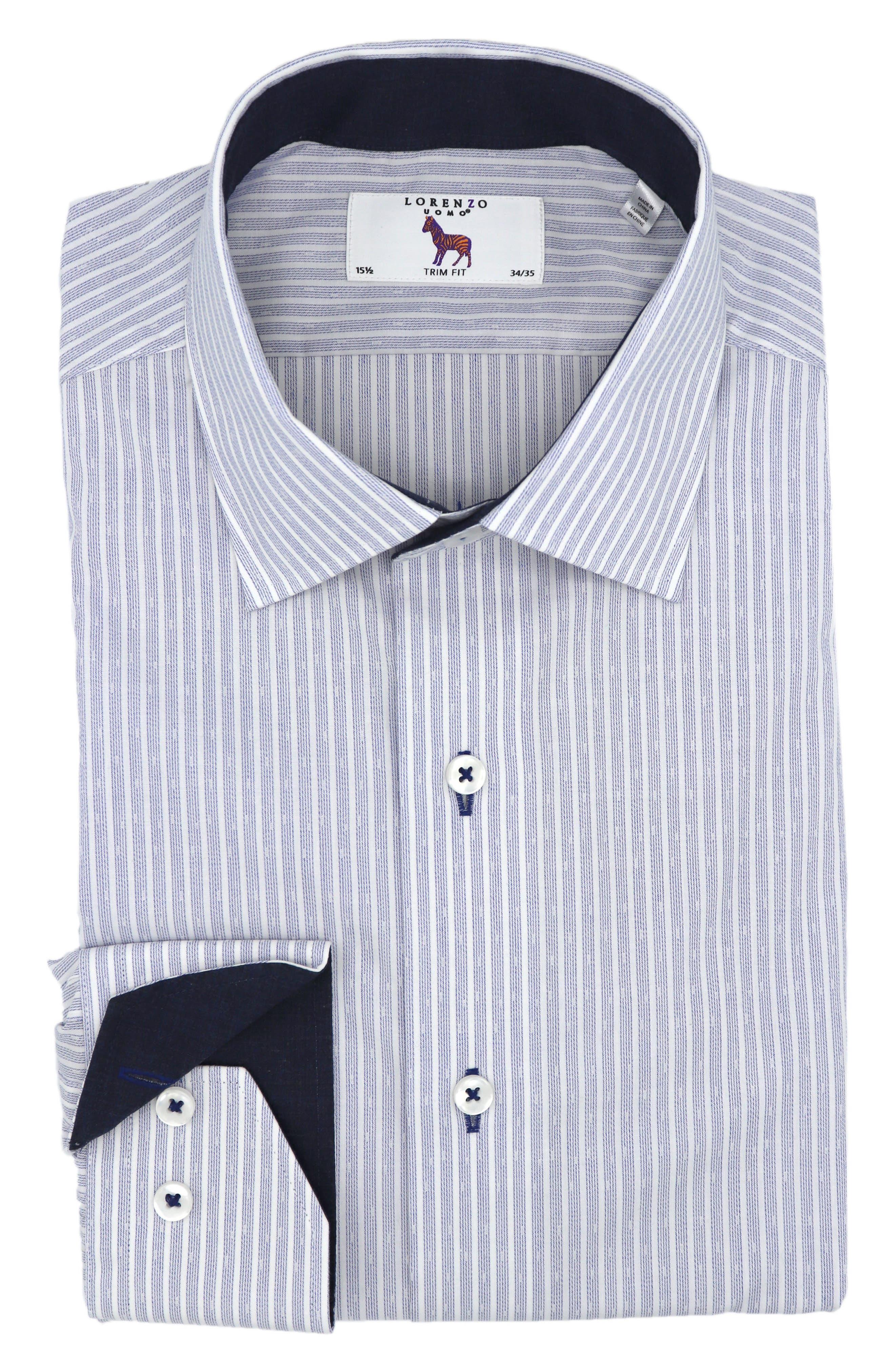 Trim Fit Stretch Stripe Dress Shirt