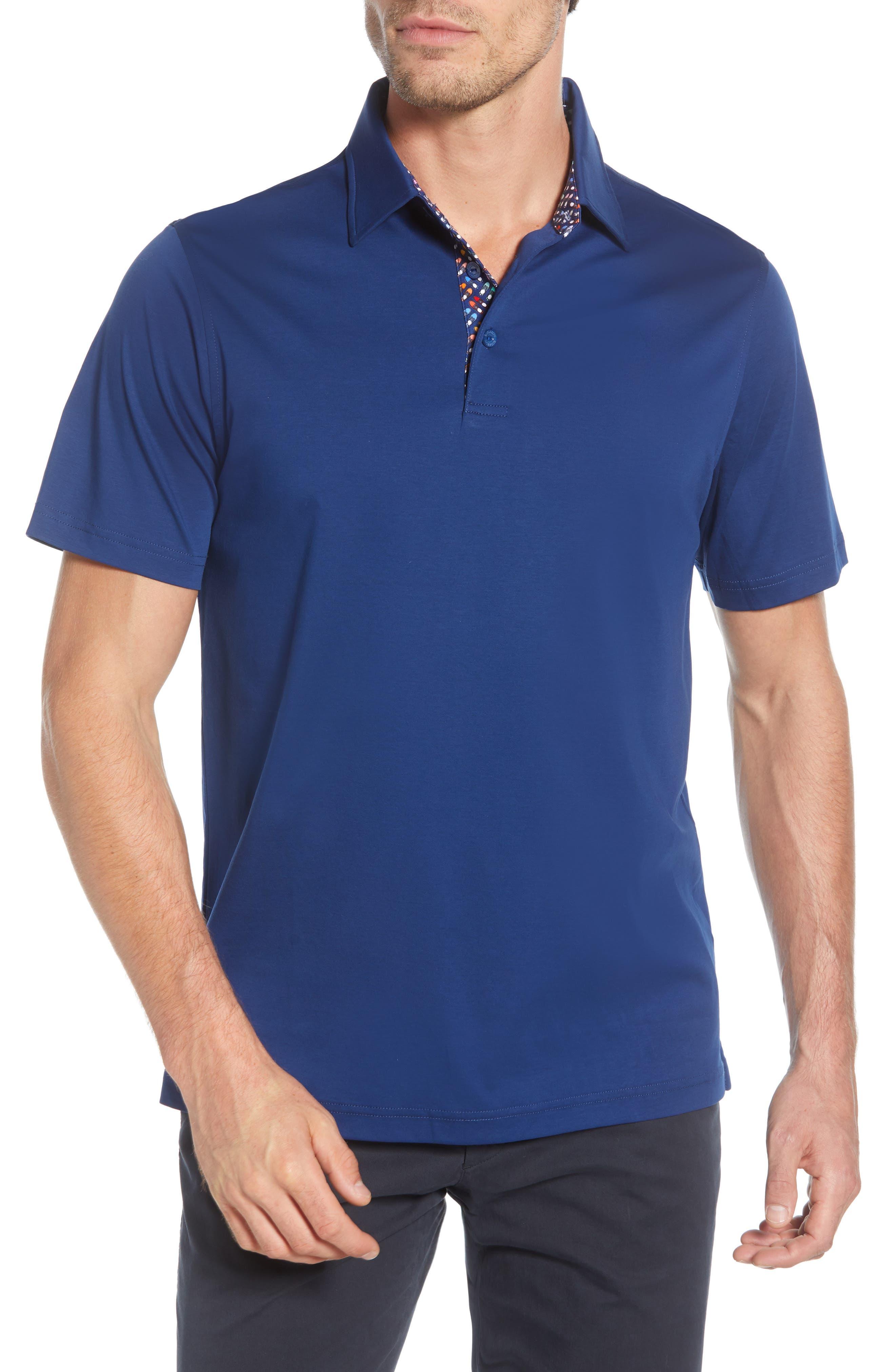men's bugatchi regular fit mercerized cotton polo, size large - blue