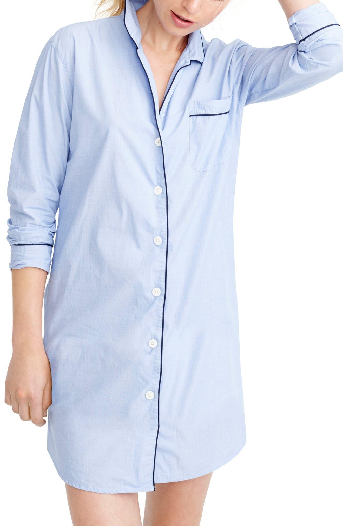J.crew End On End Sleep Shirt, Blue