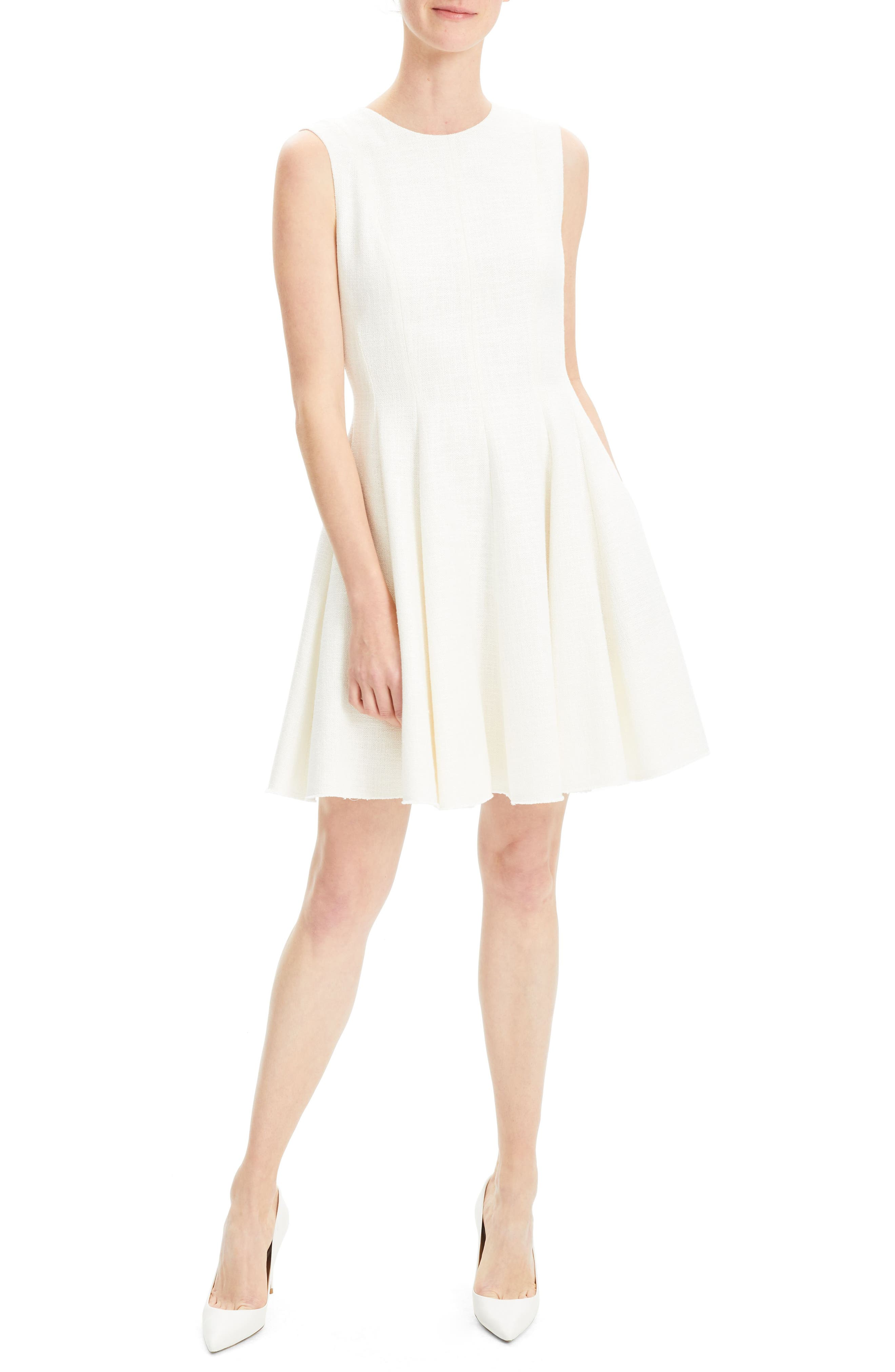Theory Canvas Fit & Flare Dress, White
