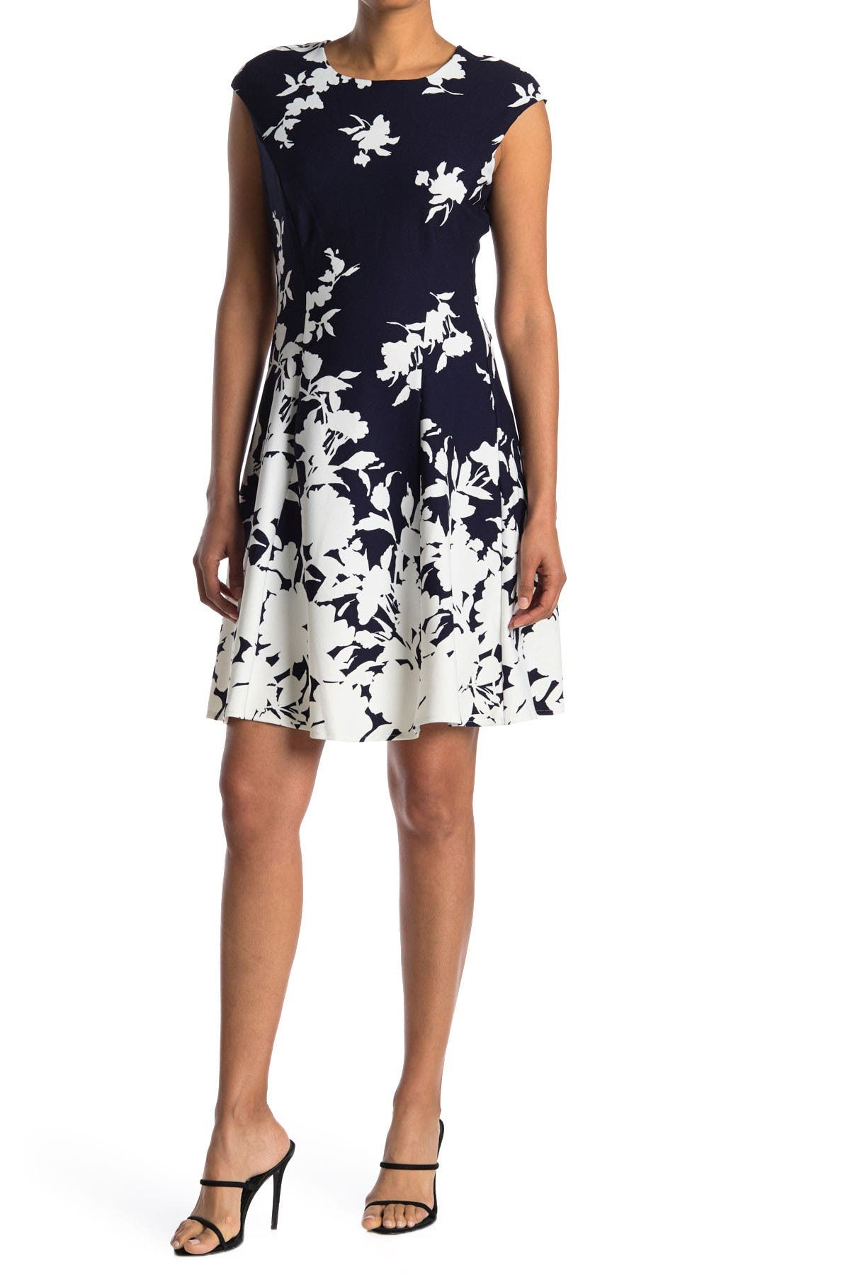 Image of London Times Monotone Floral Print Fit and Flare Dress
