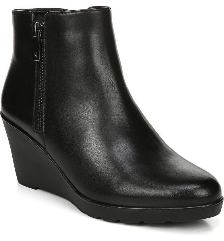 NATURALIZER Landry Water Resistant Wedge Bootie, Main, color, BLACK LEATHER