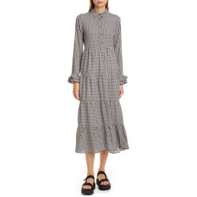 Ganni Gingham Print Crepe Long Sleeve Midi Dress, US / 4 - Black