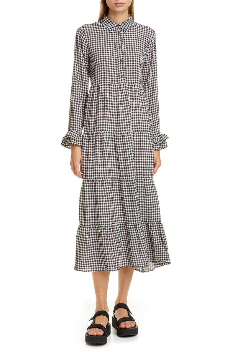 GANNI Gingham Print Crepe Long Sleeve Midi Dress, Main, color, BLACK