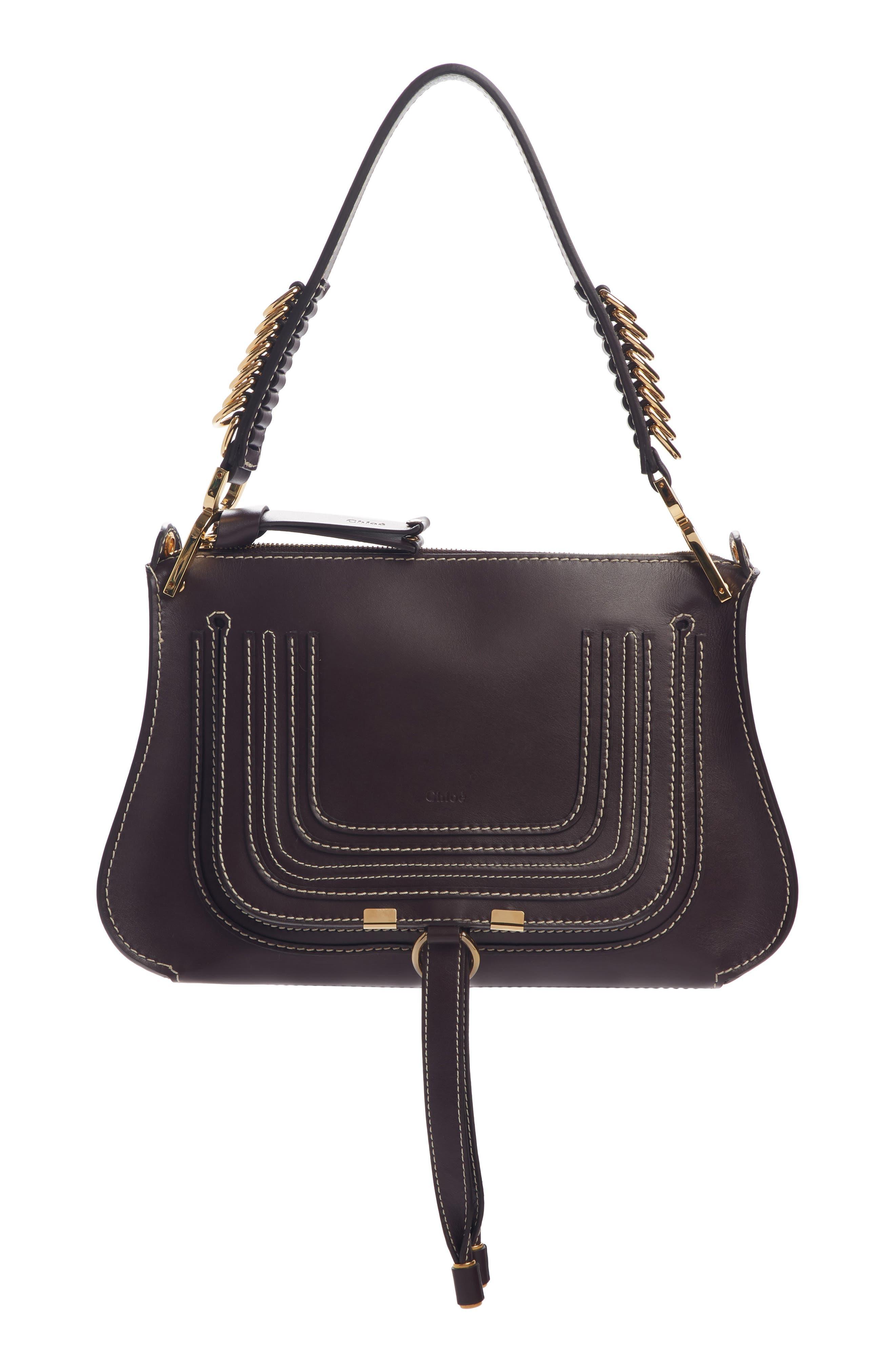 Marcie Leather Top Handle Bag, Main, color, BLACK RAISIN