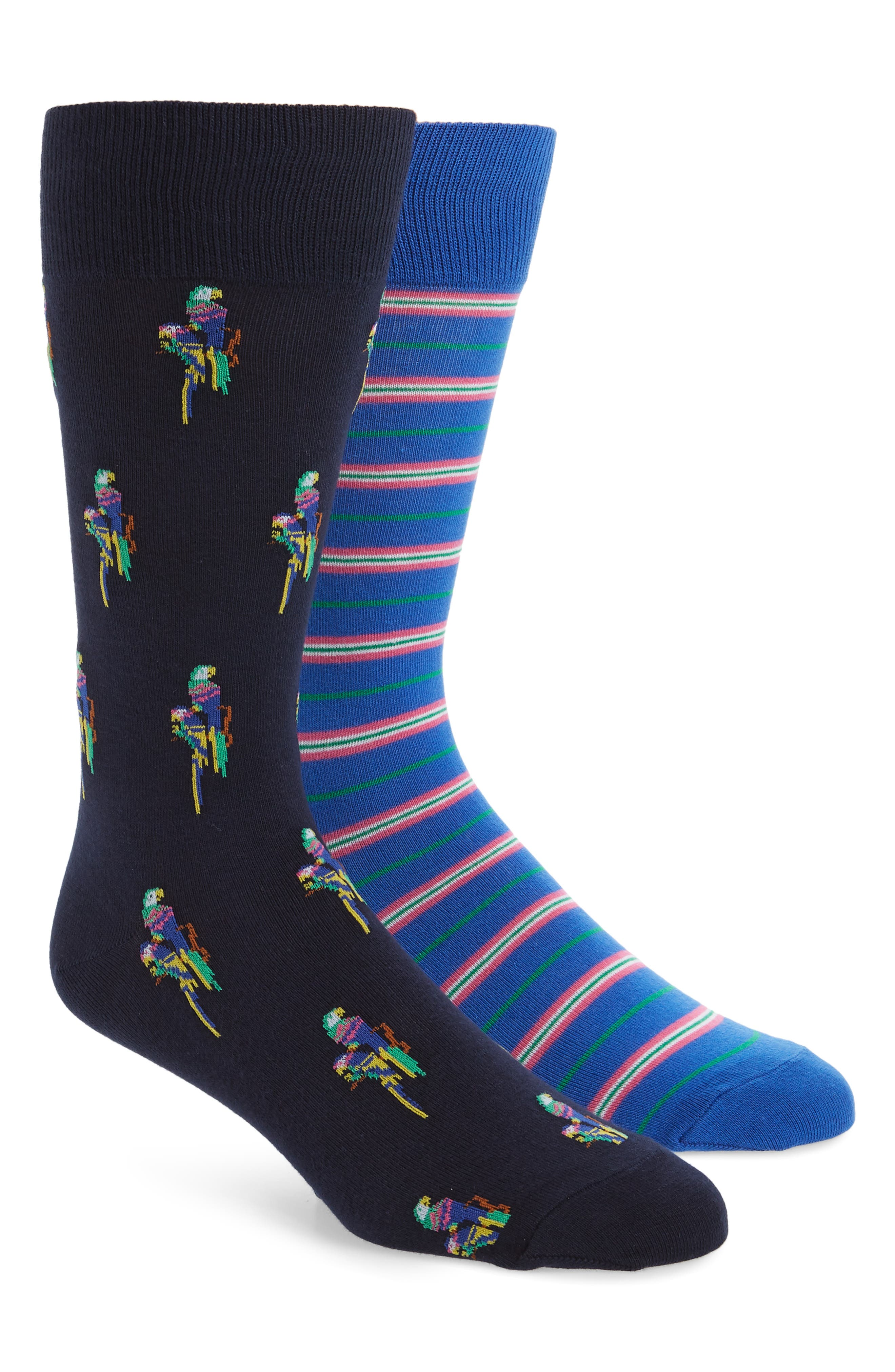 2-Pack Parrot & Stripe Socks, Main, color, NAVY