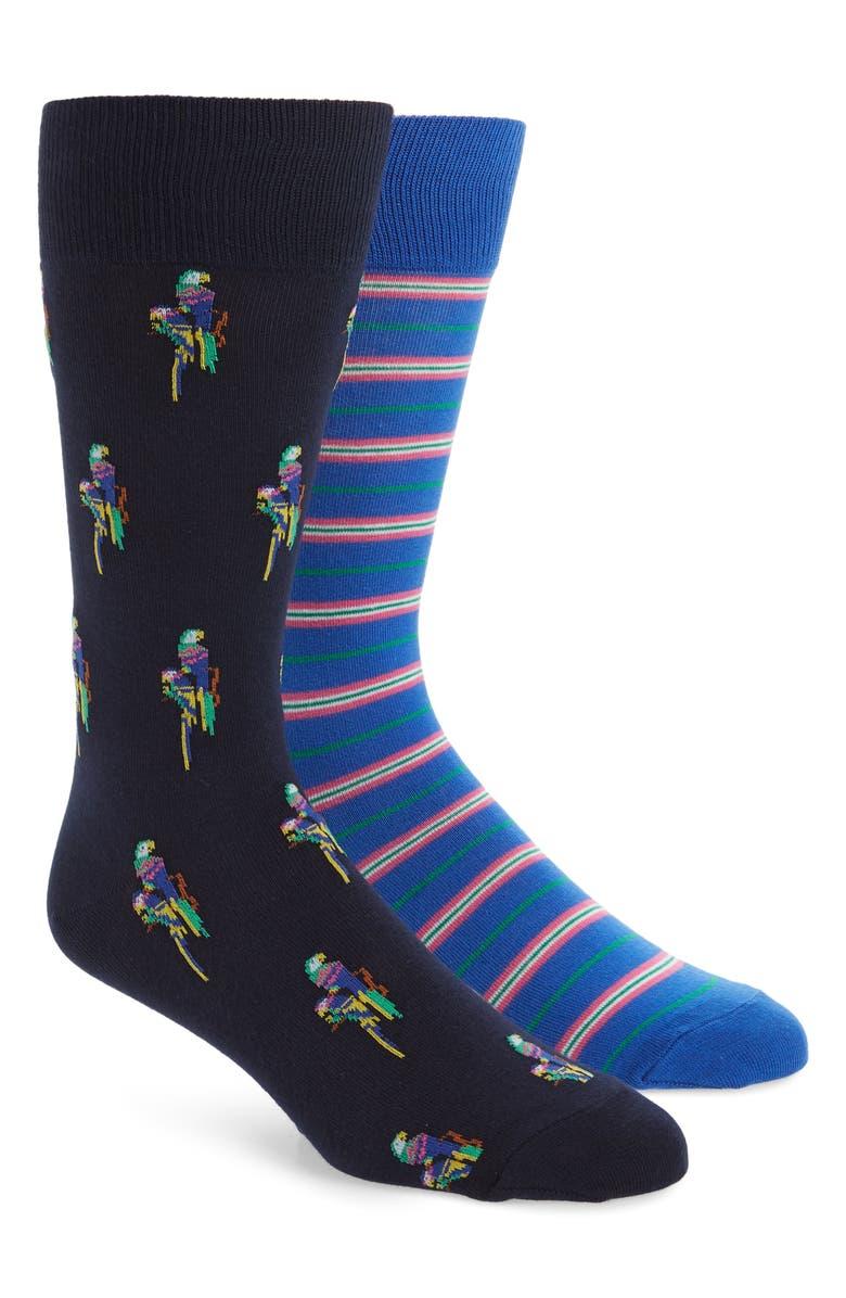 POLO RALPH LAUREN 2-Pack Parrot & Stripe Socks, Main, color, NAVY