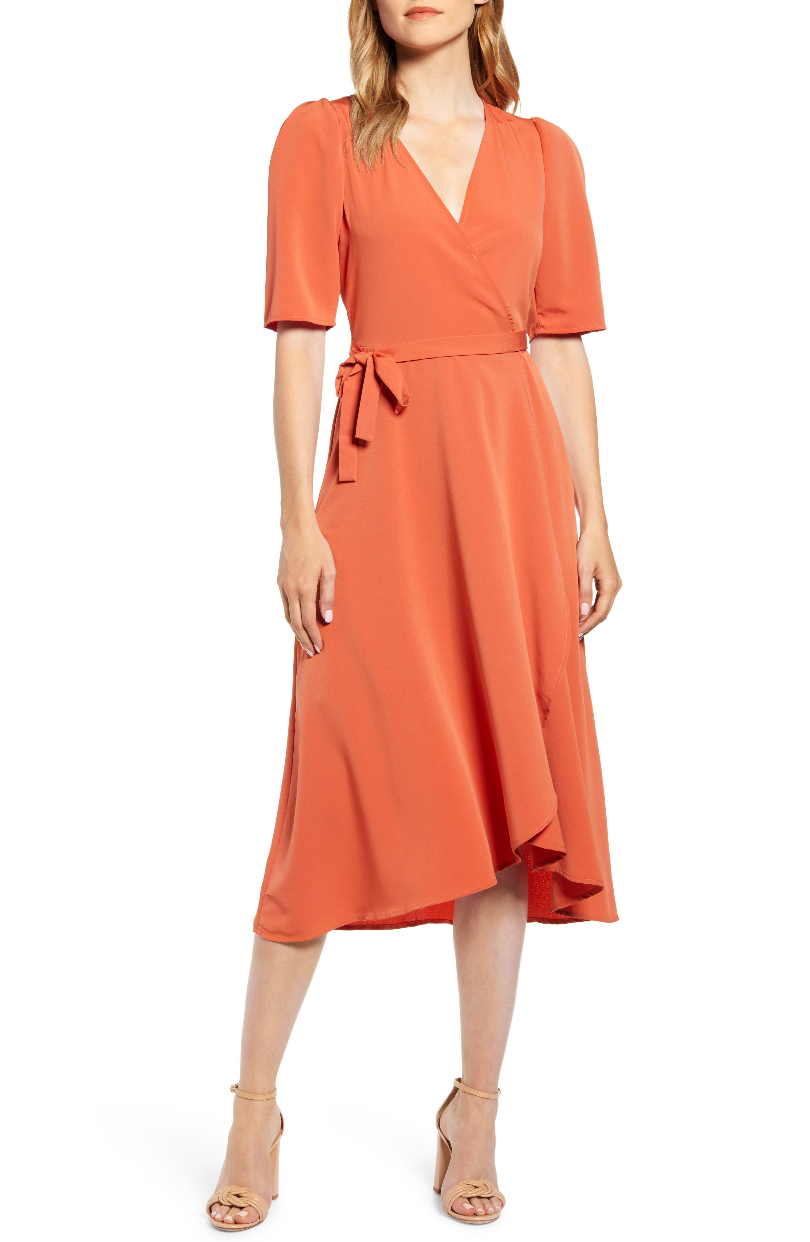 Bobeau Liv Puff Sleeve Wrap Dress, Red