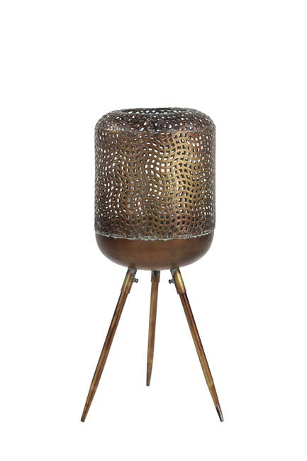 Image of Willow Row Modern Style Round Gold Metal Floor Lantern with Pierced Metal Pattern