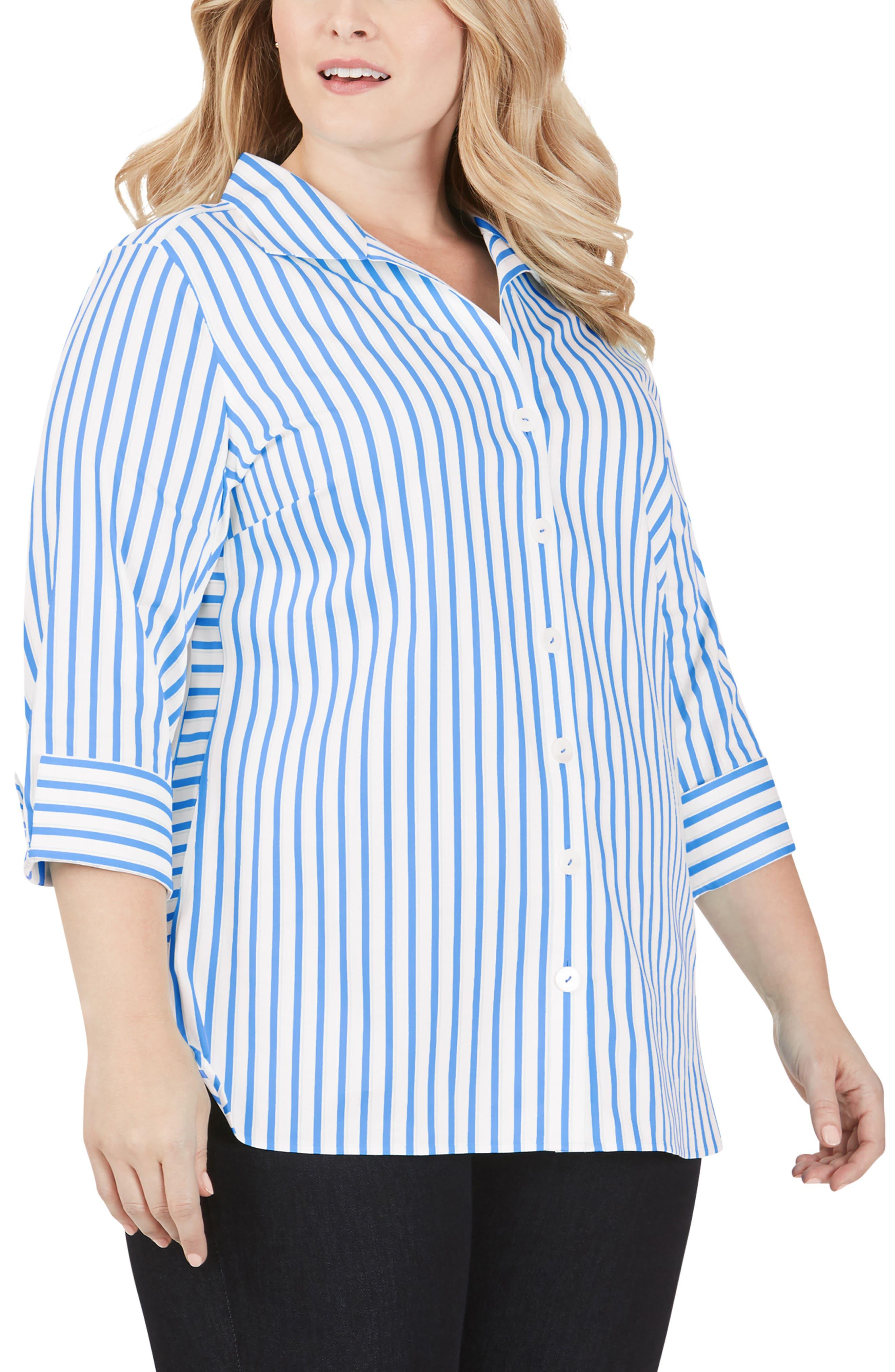 Pandora Essential Stripe Button-Up Tunic Shirt