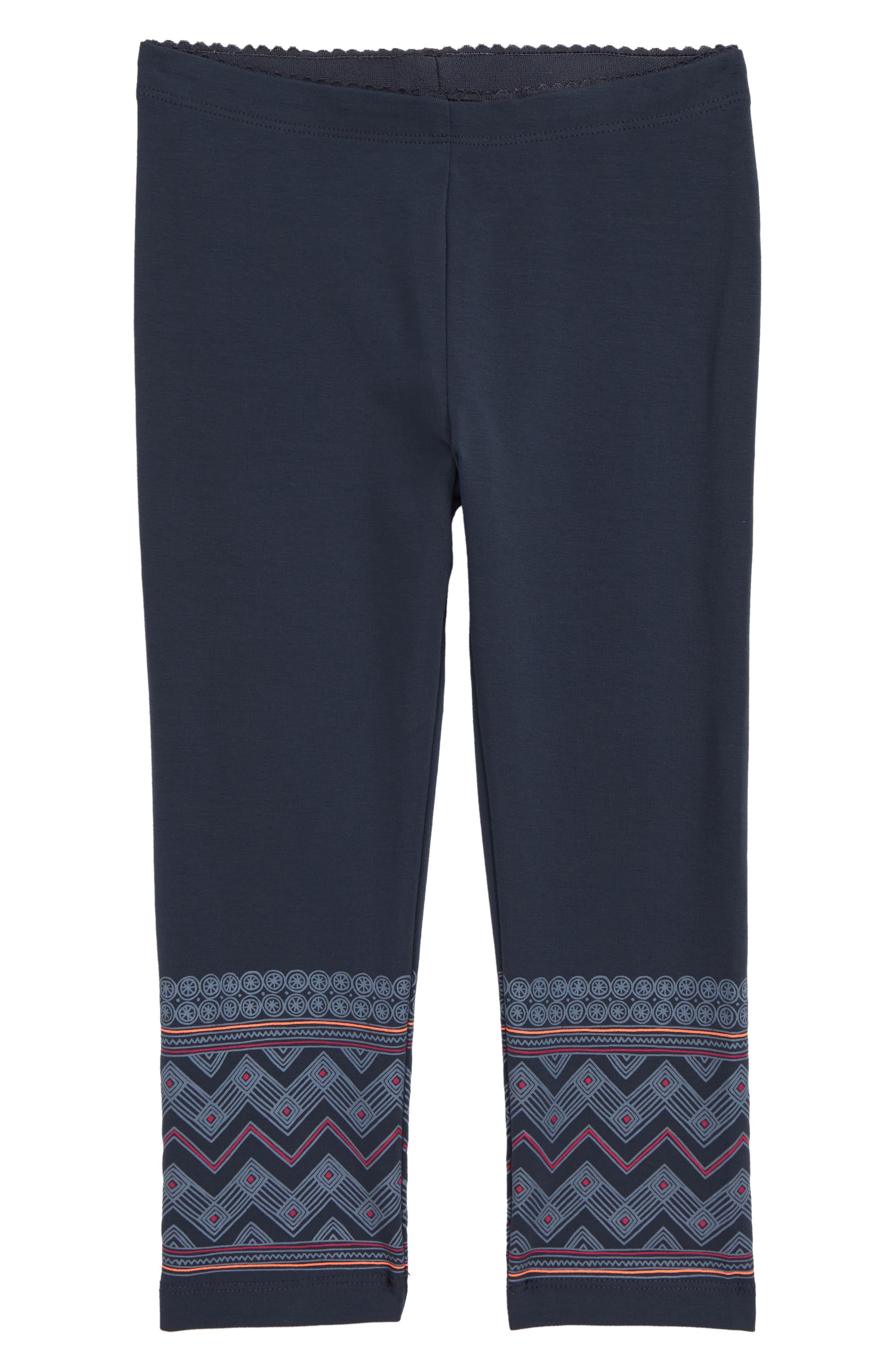 Toddler Girls Tea Collection Chevron Graphic Capri Leggings Size 3T  Blue