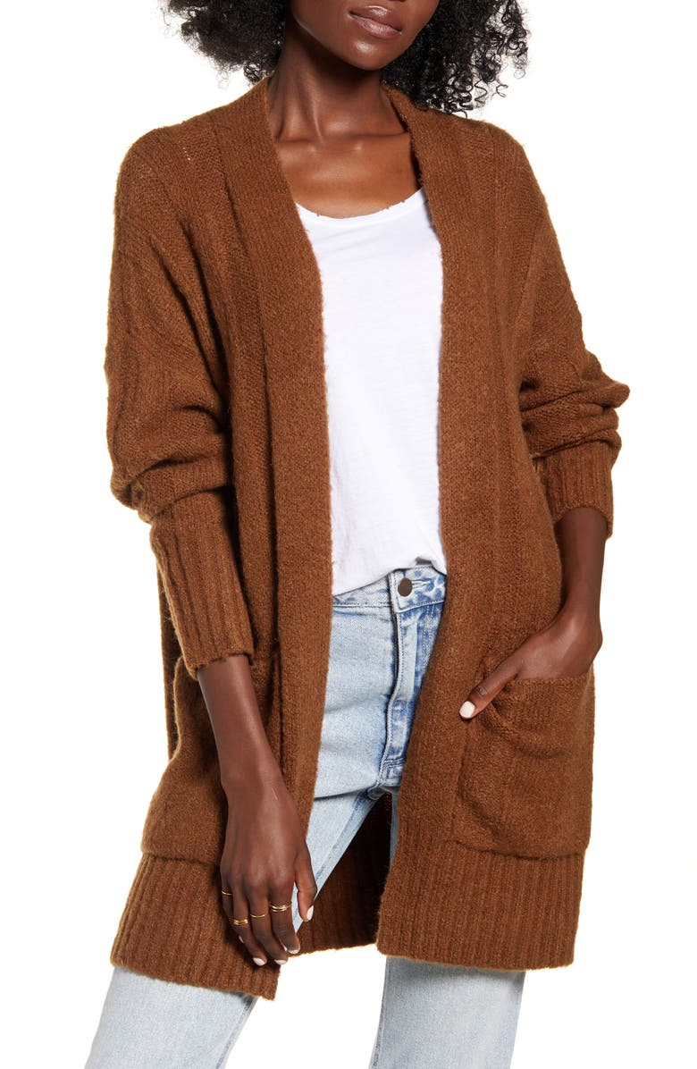 DREAMERS BY DEBUT Rib Trim Longline Cardigan, Main, color, BROWN