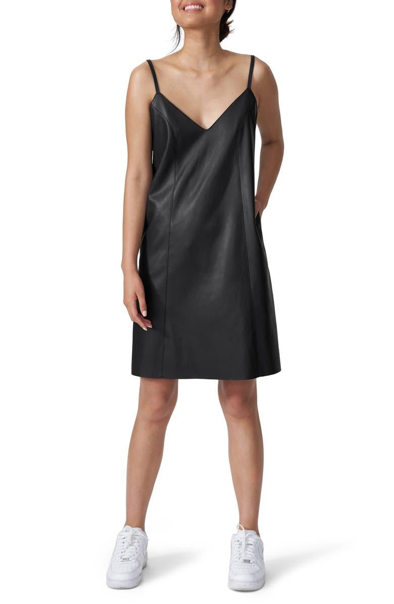 UNIVERSAL STANDARD Hen Faux Leather Slipdress, Main, color, BLACK