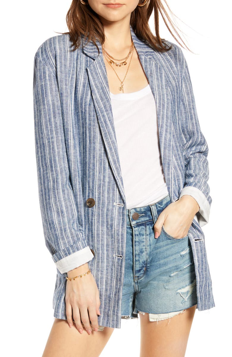 TREASURE & BOND Relaxed Double Breasted Blazer, Main, color, BLUE- WHITE SANDY STRIPE