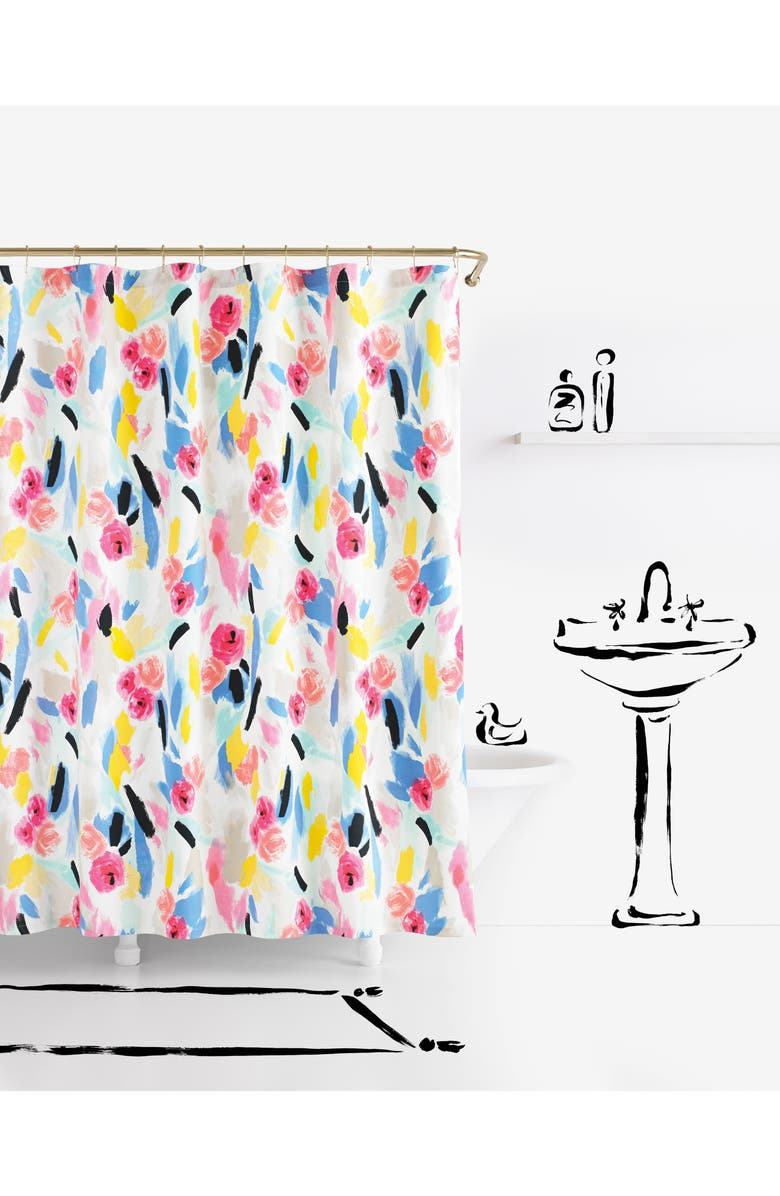 KATE SPADE NEW YORK paintball floral shower curtain, Main, color, 650