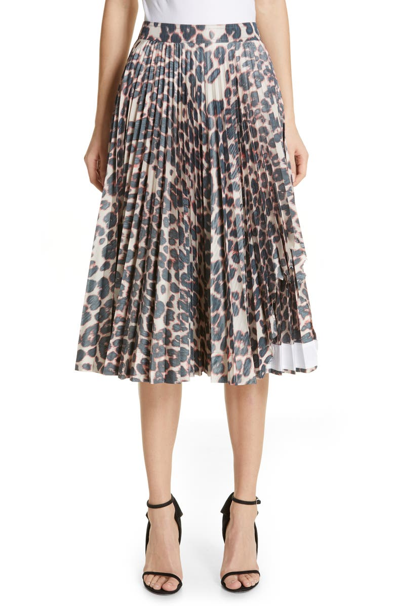 CALVIN KLEIN 205W39NYC Panther Print Pleated Taffeta Skirt, Main, color, 900