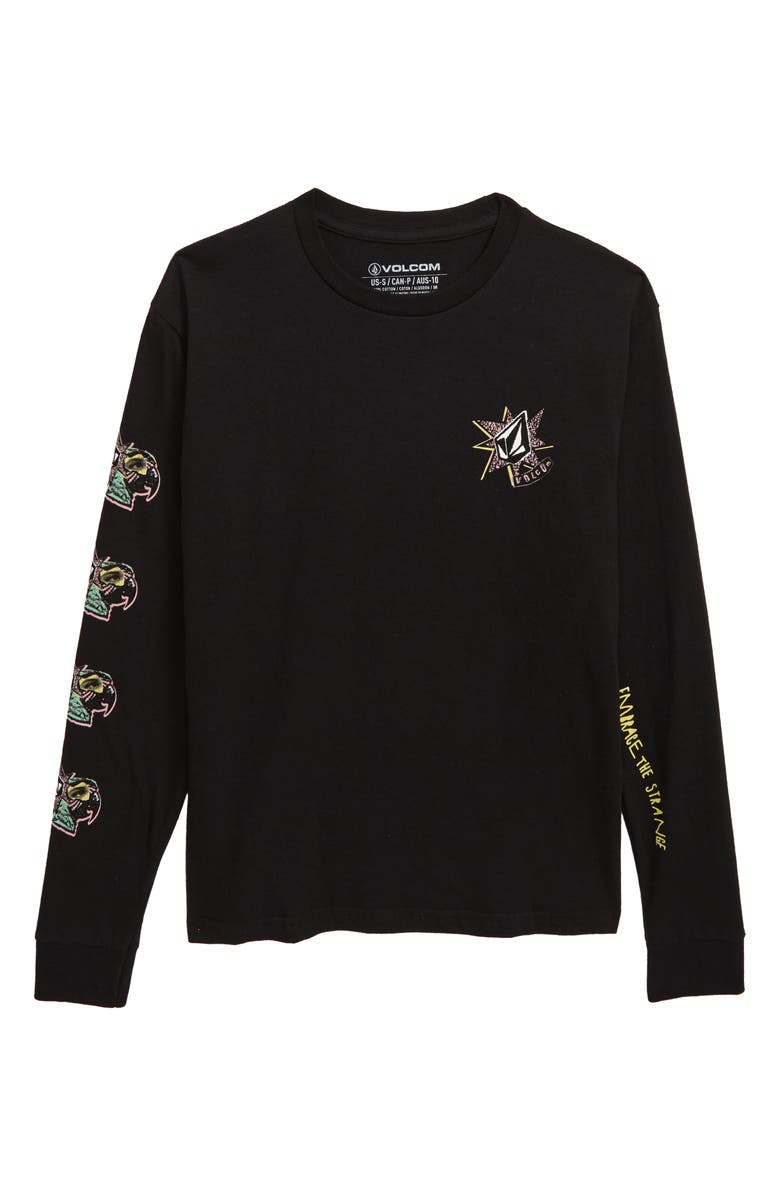 VOLCOM Party Bird Graphic Long Sleeve T-Shirt, Main, color, BLACK