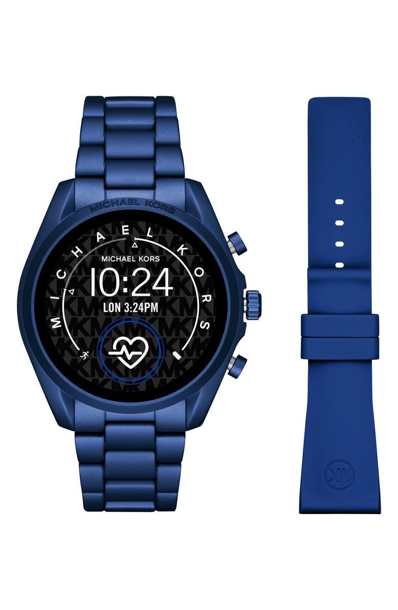 MICHAEL KORS ACCESS Michael Kors Gen 5 Bradshaw Bracelet Smart Watch & Silicone Strap Set, 44mm, Main, color, 400