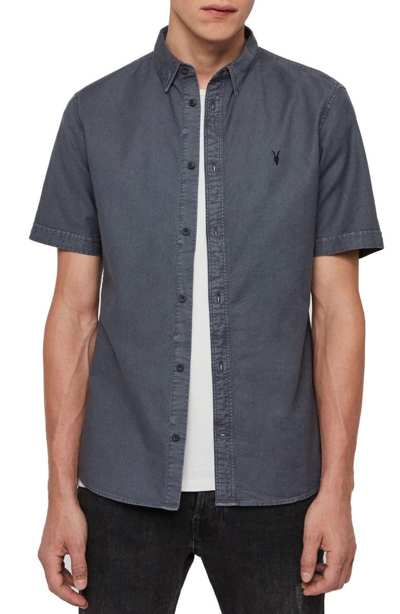 ALLSAINTS Huntington Slim Fit Short Sleeve Shirt, Main, color, IRON BLUE