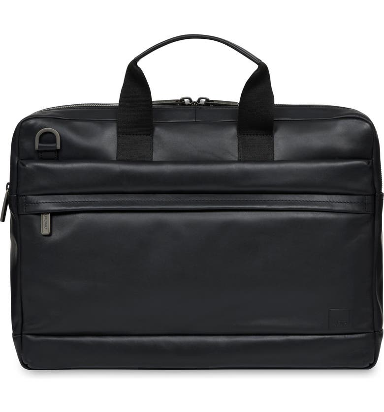 KNOMO LONDON Barbican Rosco Leather Briefcase, Main, color, BLACK