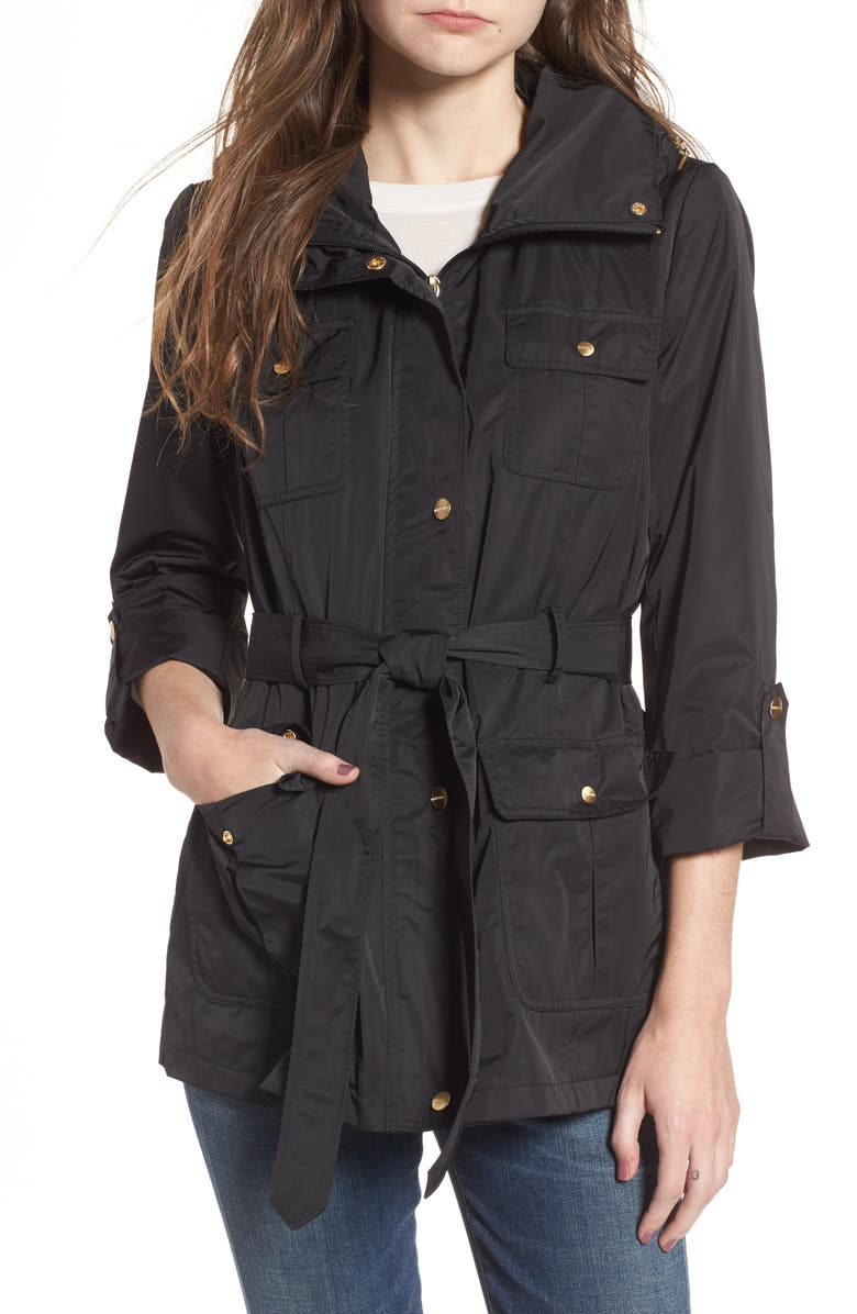 ELLEN TRACY Techno Short Trench Coat, Main, color, 001