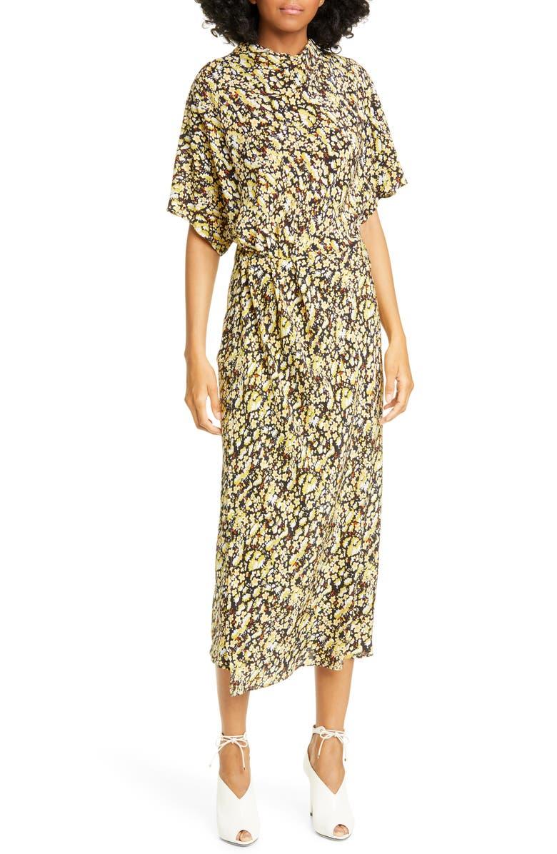 STINE GOYA Rhode Meadow Silk Midi Dress, Main, color, MEADOW BLACK
