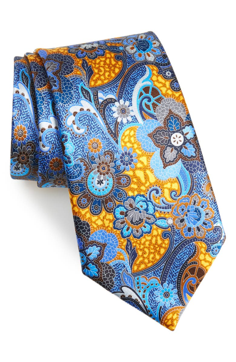 ERMENEGILDO ZEGNA Quindici Paisley Silk Tie, Main, color, YELLOW