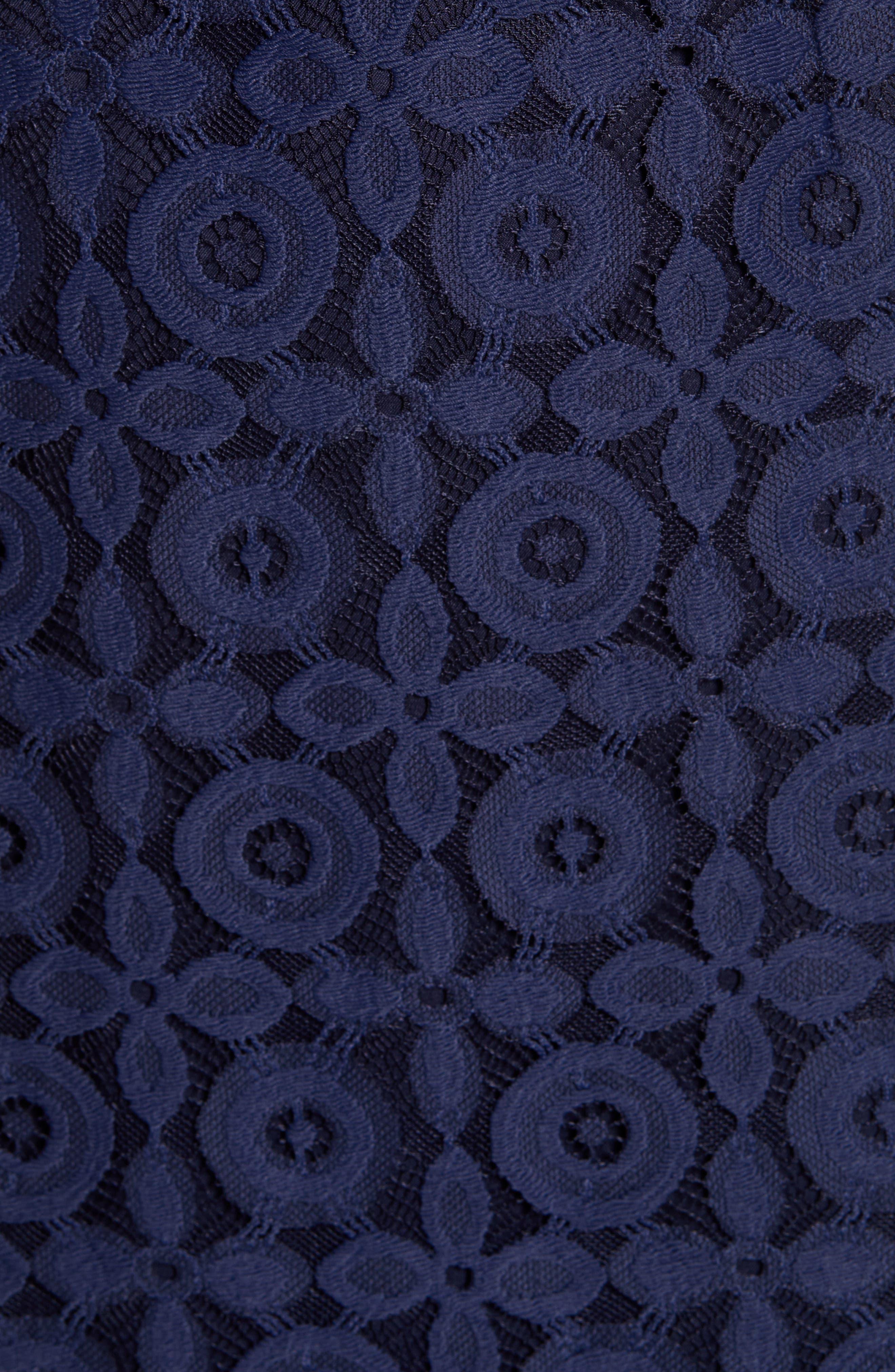 ,                             Flutter Sleeve Lace Sheath Dress,                             Alternate thumbnail 6, color,                             NAVY PEACOAT