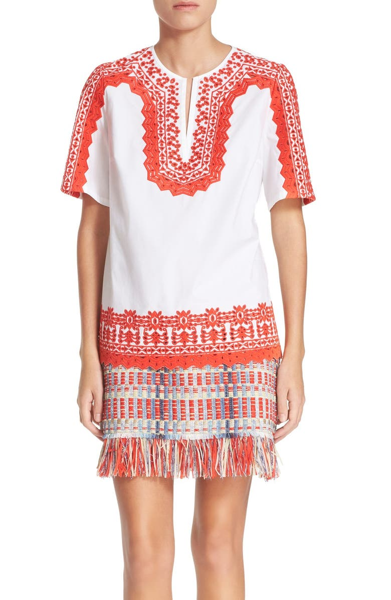 2abe6144eaa Tory Burch 'Isla' Embroidered Stretch Cotton Tunic | Nordstrom