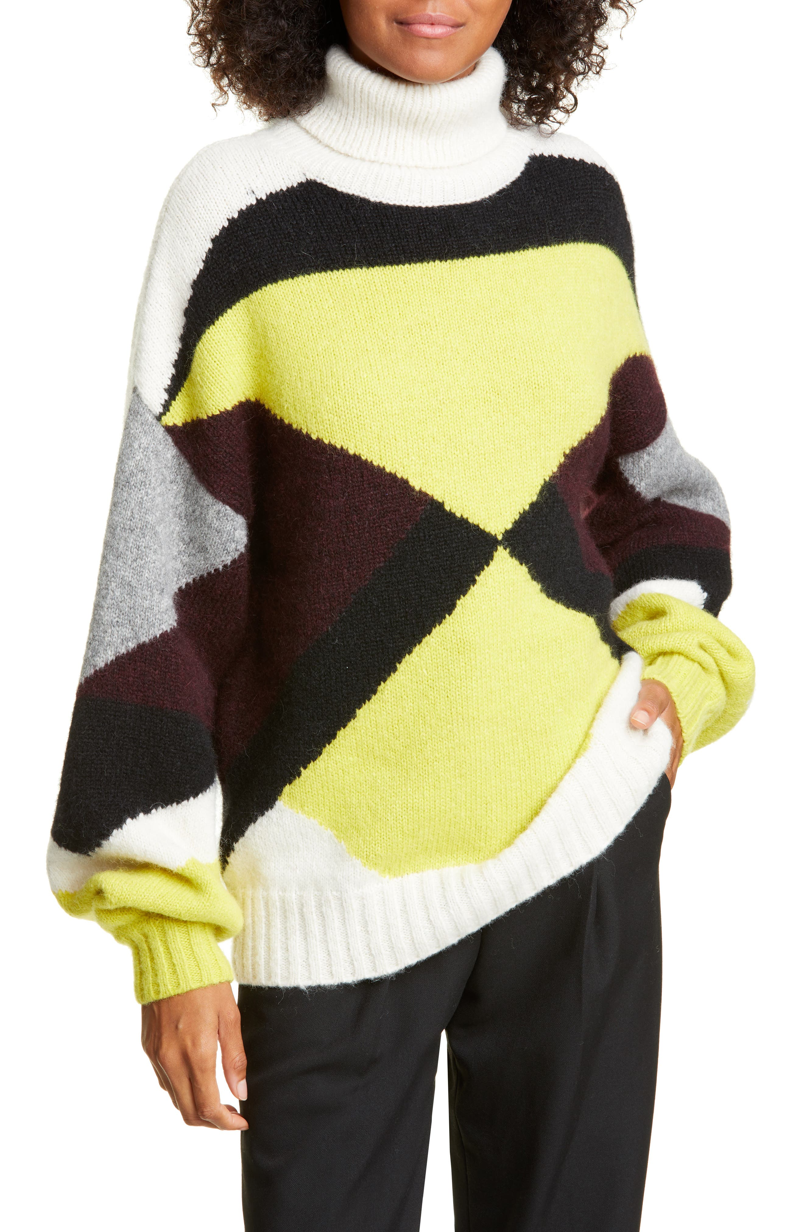 Image of A.L.C. Angelou Geo Colorblock Turtleneck Sweater