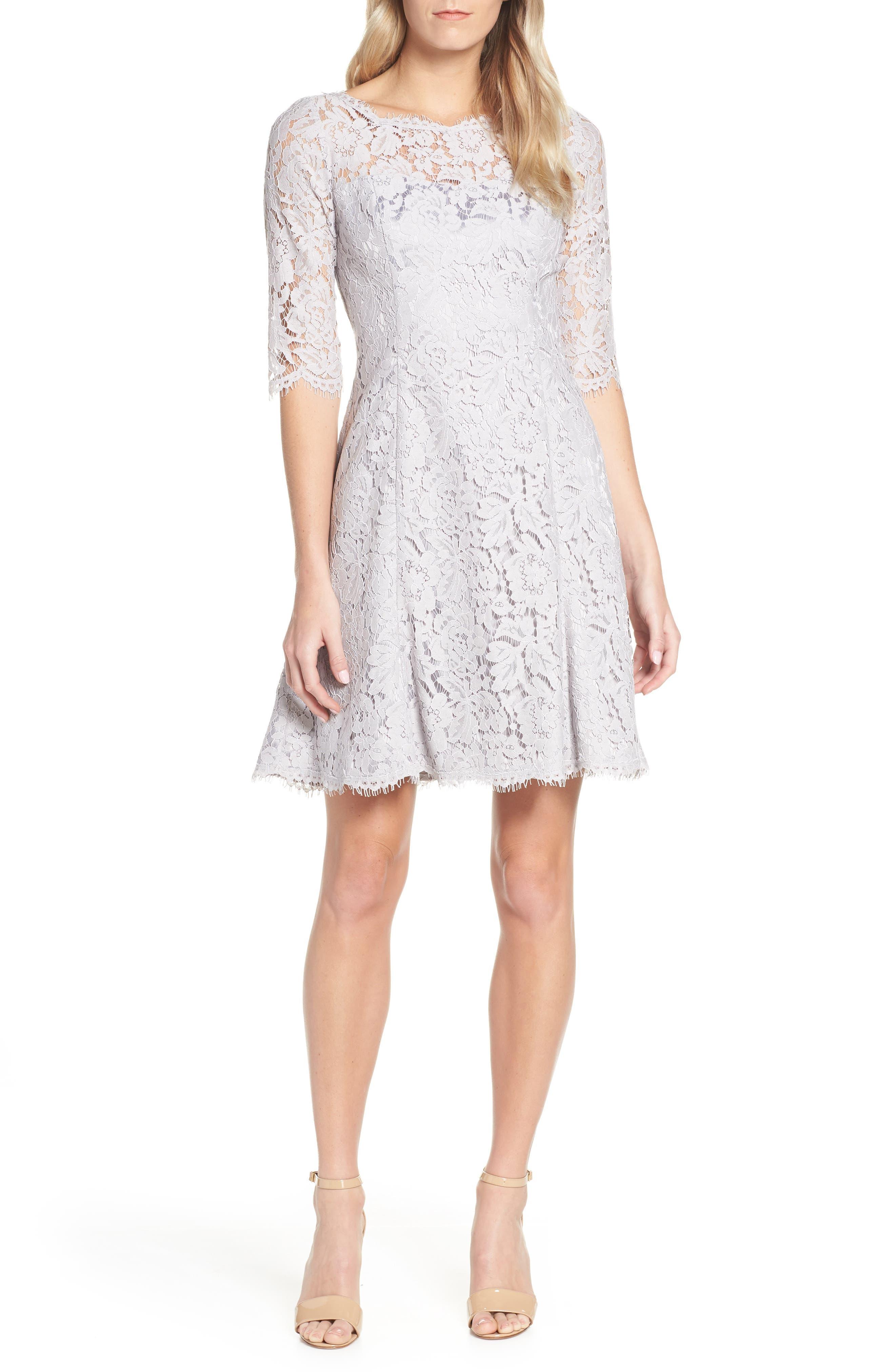 Eliza J Lace Fit & Flare Dress, Grey
