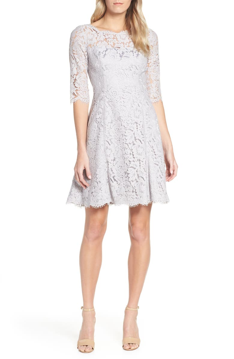 ELIZA J Lace Fit & Flare Dress, Main, color, 030