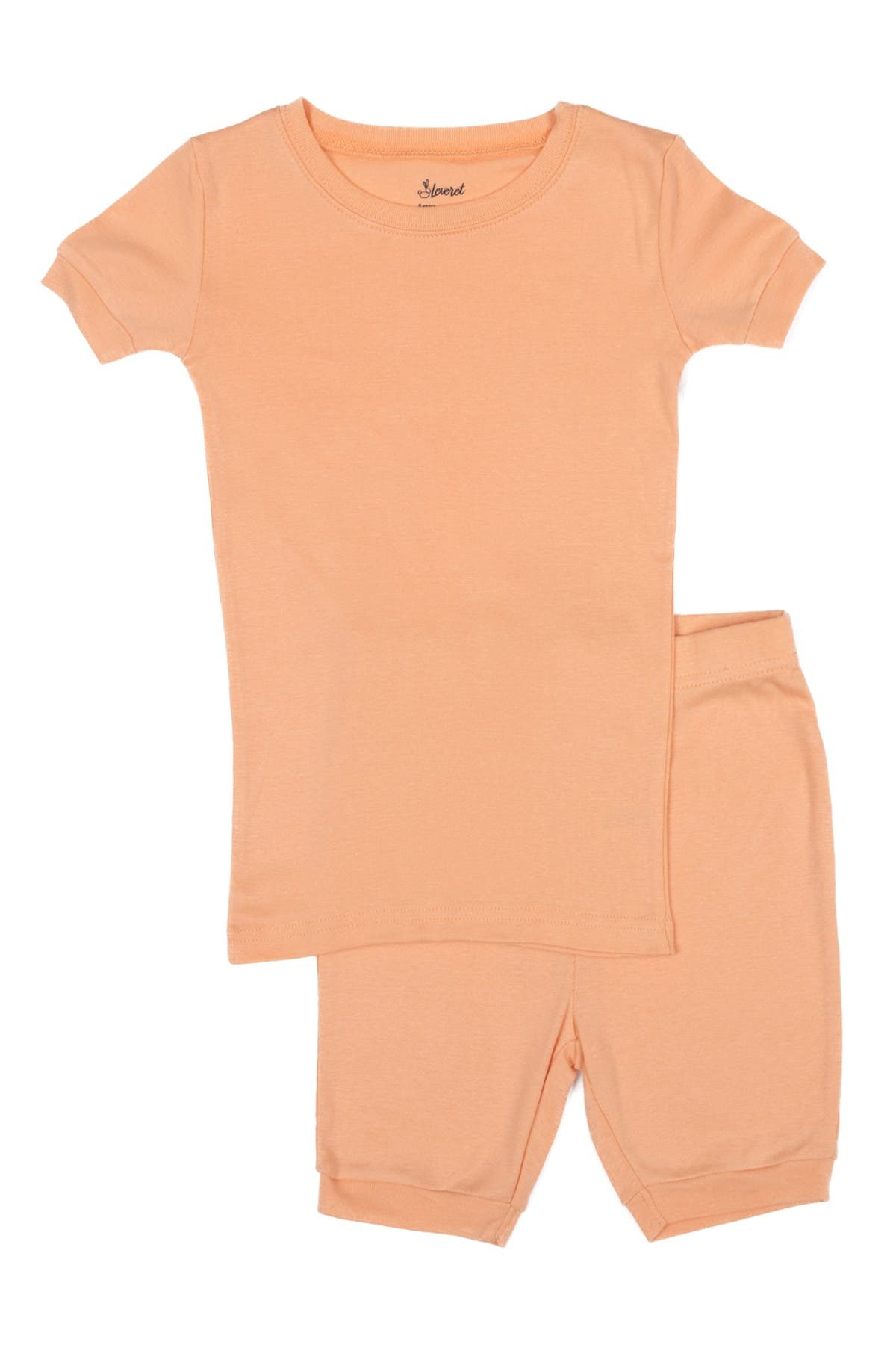 Image of Leveret Peach Two-Piece Cotton Shorts Pajamas