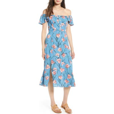 Band Of Gypsies Floral Off The Shoulder Midi Dress, Blue