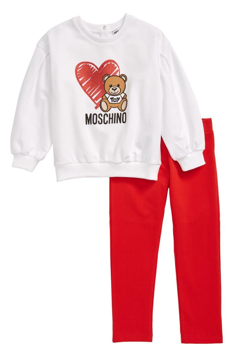 MOSCHINO Bear Sweatshirt & Sweatpants Set, Main, color, WHITE/ RED