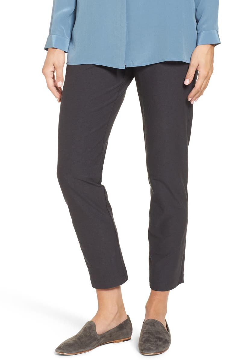 EILEEN FISHER Stretch Crepe Ankle Pants, Main, color, 025