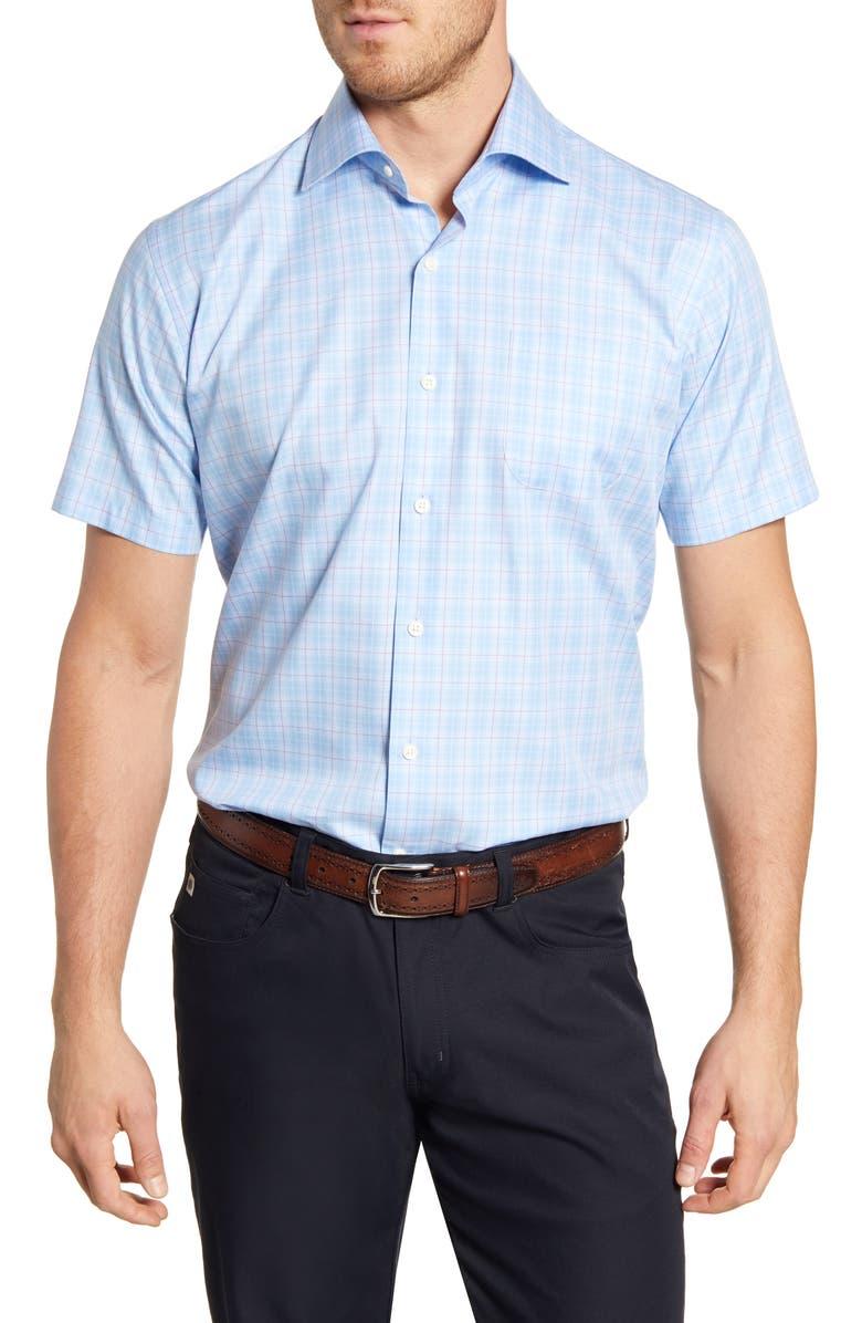 PETER MILLAR Clapton Regular Fit Plaid Short Sleeve Button-Up Shirt, Main, color, COTTAGE BLUE