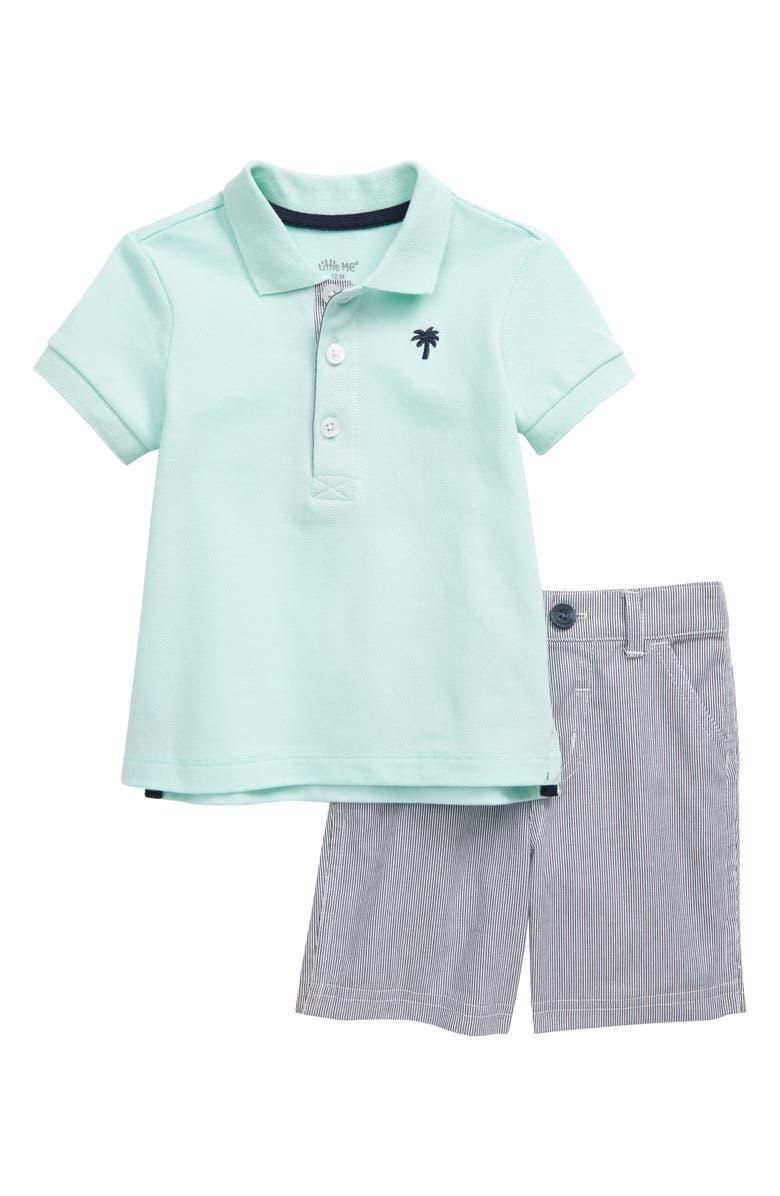 LITTLE ME Palm Tree Polo & Shorts Set, Main, color, 457