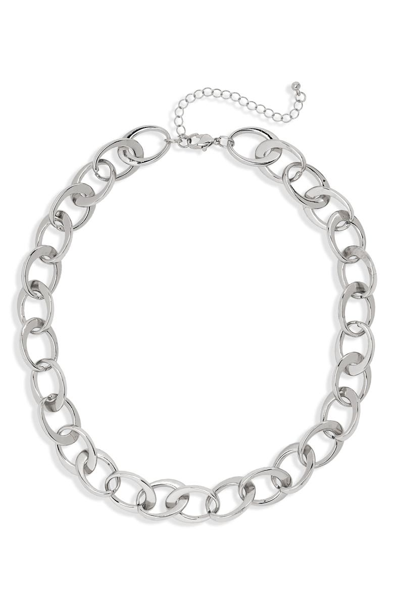 BP. Chain Link Collar Necklace, Main, color, RHODIUM